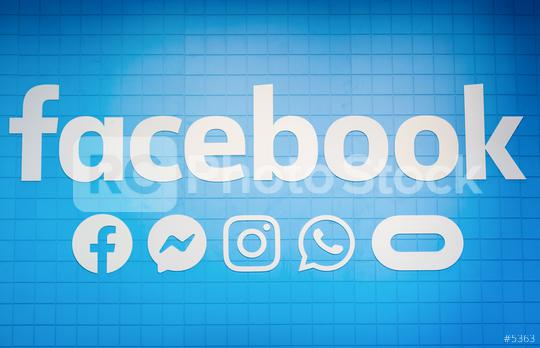 BERLIN, GERMANY JULY 2019: Facebook logo with social media icon. Facebook is a popular social media service founded in 2004 by mark zuckerberg  : Stock Photo or Stock Video Download rcfotostock photos, images and assets rcfotostock   RC-Photo-Stock.: