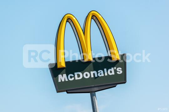 BERLIN, GERMANY JULY 2019: McDonalds logo sign. It is the world
