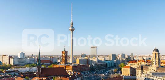 Berlin skyline panorama with famous TV tower in beautiful evening light at sunset, Germany  : Stock Photo or Stock Video Download rcfotostock photos, images and assets rcfotostock | RC-Photo-Stock.: