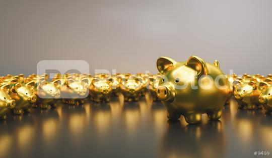Big golden piggy bank with small golden piggy banks, investment and development concept   : Stock Photo or Stock Video Download rcfotostock photos, images and assets rcfotostock   RC-Photo-Stock.:
