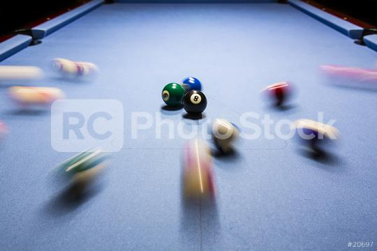 Billiard eightball spiel motion shot Billiardtisch  : Stock Photo or Stock Video Download rcfotostock photos, images and assets rcfotostock | RC-Photo-Stock.: