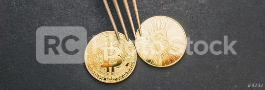 bitcoin (BTC) and Bitcoin Cash (BCH) Hard Fork, digital cryptocurrency concept image, banner size  : Stock Photo or Stock Video Download rcfotostock photos, images and assets rcfotostock   RC-Photo-Stock.: