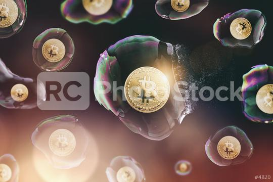 Bitcoin bubble burst - digital cryptocurrency concept image  : Stock Photo or Stock Video Download rcfotostock photos, images and assets rcfotostock   RC-Photo-Stock.: