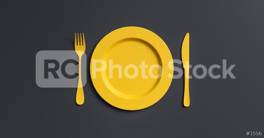 Blank yellow plate mockup with fork and knife, top view. Clear ceramic dishware with set cutlery design. Empty yellow table ware for lunch or dinner in cafe. copyspace for your individual text.  : Stock Photo or Stock Video Download rcfotostock photos, images and assets rcfotostock   RC-Photo-Stock.: