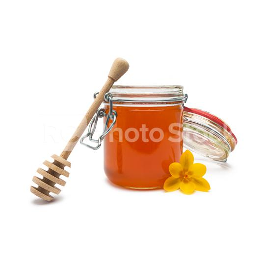blossom honey pot with wood stick on white  : Stock Photo or Stock Video Download rcfotostock photos, images and assets rcfotostock | RC-Photo-Stock.: