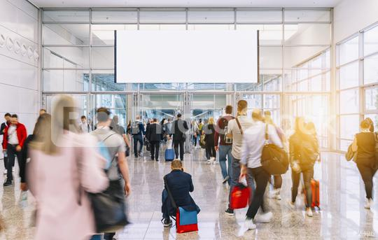 blurred business people at a trade fair, banner size, including Copy space  : Stock Photo or Stock Video Download rcfotostock photos, images and assets rcfotostock | RC-Photo-Stock.: