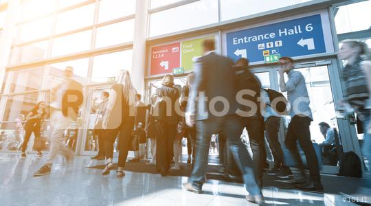 Blurred business people at a trade fair, expo  : Stock Photo or Stock Video Download rcfotostock photos, images and assets rcfotostock | RC-Photo-Stock.: