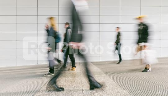 blurred commuters at a modern corridor  : Stock Photo or Stock Video Download rcfotostock photos, images and assets rcfotostock | RC-Photo-Stock.: