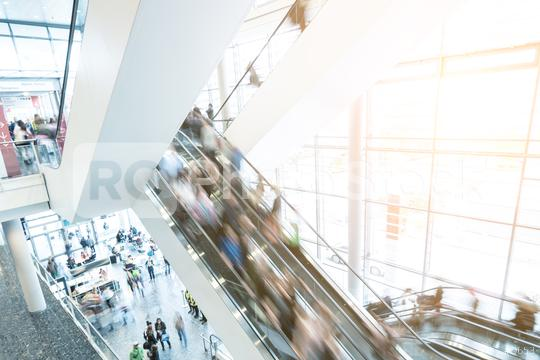 blurred Exhibition visitors at escalators  : Stock Photo or Stock Video Download rcfotostock photos, images and assets rcfotostock | RC-Photo-Stock.: