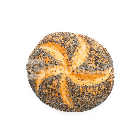 bread roll covered with poppy seeds -German breakfast food, isolated on whtie  : Stock Photo or Stock Video Download rcfotostock photos, images and assets rcfotostock | RC-Photo-Stock.: