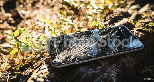 Broken screen smartphone outdoor after hiking  : Stock Photo or Stock Video Download rcfotostock photos, images and assets rcfotostock | RC-Photo-Stock.:
