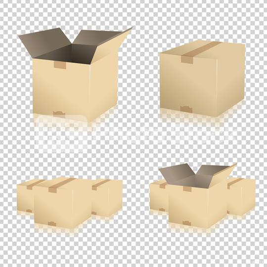 Brown closed and open carton delivery packaging box set on checked transparent background. Vector illustration. Eps 10 vector file.  : Stock Photo or Stock Video Download rcfotostock photos, images and assets rcfotostock | RC-Photo-Stock.:
