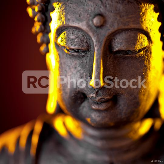 Buddha statue head with glow against black background  : Stock Photo or Stock Video Download rcfotostock photos, images and assets rcfotostock   RC-Photo-Stock.: