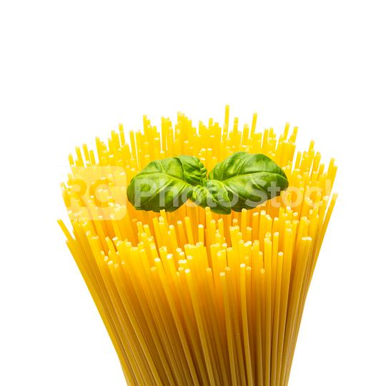 bunch of spaghetti noodles with basil  : Stock Photo or Stock Video Download rcfotostock photos, images and assets rcfotostock | RC-Photo-Stock.: