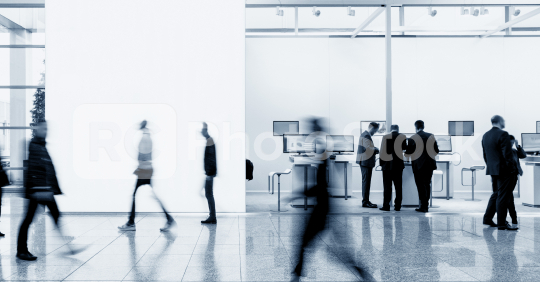 business people walking between trade show booths and advertising posters or banner at a public event exhibition hall, with banner and copy space for individual text  : Stock Photo or Stock Video Download rcfotostock photos, images and assets rcfotostock   RC-Photo-Stock.: