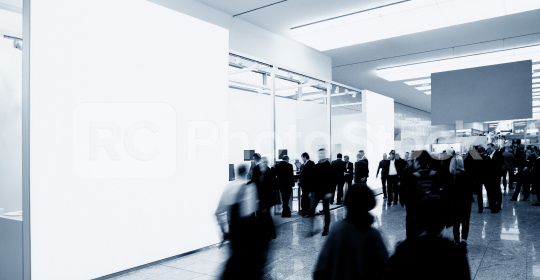 business people walking between trade show booths and advertising posters or banner. ideal for websites and magazines layouts  : Stock Photo or Stock Video Download rcfotostock photos, images and assets rcfotostock   RC-Photo-Stock.: