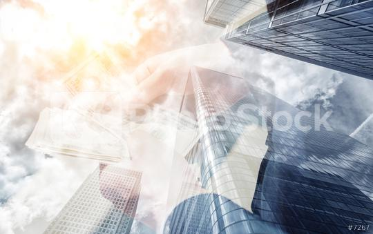 businessman holding dollar notes. Skyscraper office building on Double exposure background  : Stock Photo or Stock Video Download rcfotostock photos, images and assets rcfotostock | RC-Photo-Stock.: