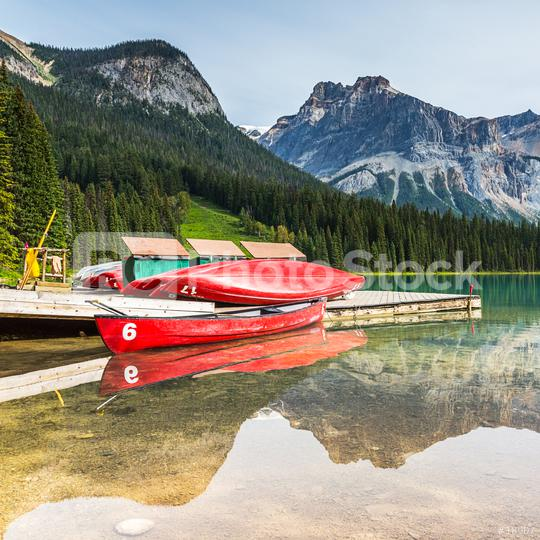 Canoe pier at the Emerald Lake in the Yoho National Park canada  : Stock Photo or Stock Video Download rcfotostock photos, images and assets rcfotostock | RC-Photo-Stock.: