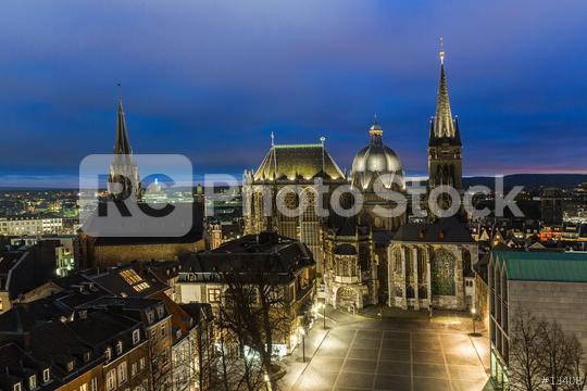 cathedral of Aachen at night  : Stock Photo or Stock Video Download rcfotostock photos, images and assets rcfotostock | RC-Photo-Stock.: