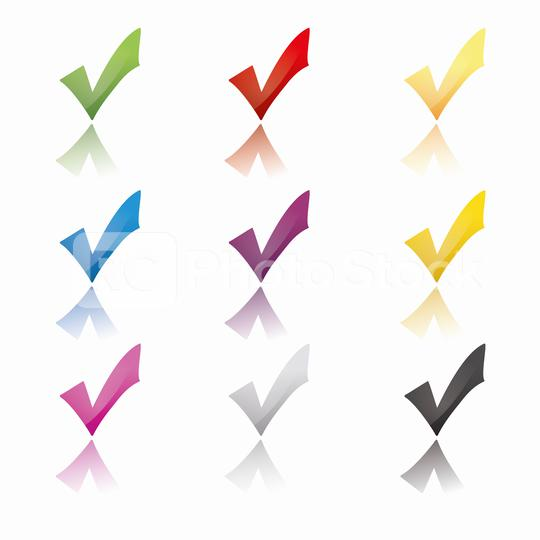 Check icon set in different color glossy stile, ok symbol in different colors on white background. Vector illustration. Eps 10 vector file.  : Stock Photo or Stock Video Download rcfotostock photos, images and assets rcfotostock | RC-Photo-Stock.: