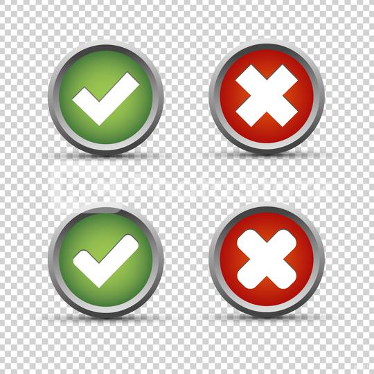 Checkmark and cross buttons on checked transparent background. Vector illustration. Eps 10 vector file.  : Stock Photo or Stock Video Download rcfotostock photos, images and assets rcfotostock | RC-Photo-Stock.: