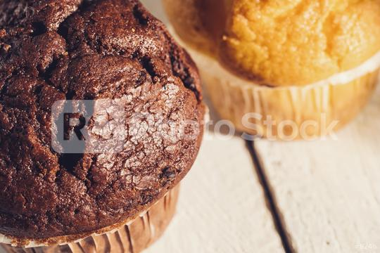Chocolate muffin and blueberry muffin, homemade bakery  : Stock Photo or Stock Video Download rcfotostock photos, images and assets rcfotostock   RC-Photo-Stock.: