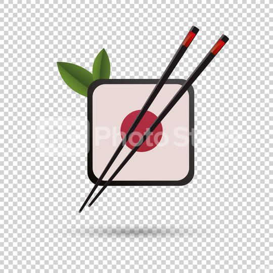 chopsticks with sushi roll. concept of snack, susi, exotic nutrition, sushi restaurant, sea food on checked transparent background. Vector illustration. Eps 10 vector file.  : Stock Photo or Stock Video Download rcfotostock photos, images and assets rcfotostock | RC-Photo-Stock.: