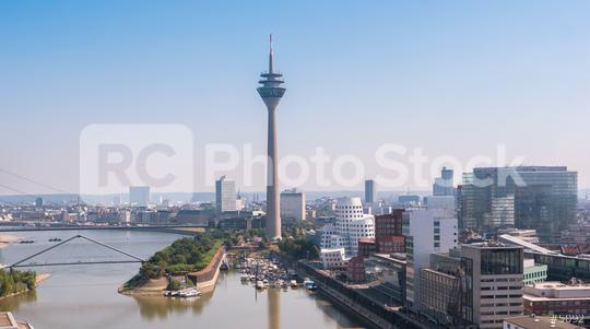Cityscape of Dusseldorf over the Rhine river at a summer morning  : Stock Photo or Stock Video Download rcfotostock photos, images and assets rcfotostock | RC-Photo-Stock.:
