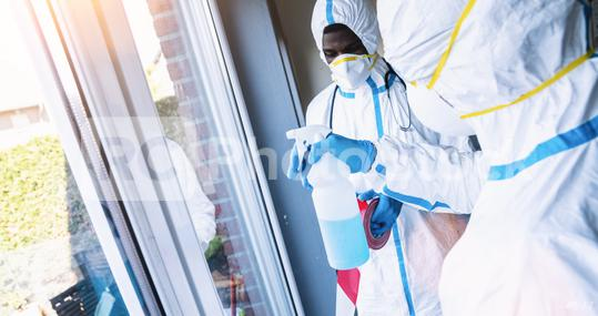 Cleaners in disinfection and cleaning in clinic during Covid-19 coronavirus epidemic   : Stock Photo or Stock Video Download rcfotostock photos, images and assets rcfotostock   RC-Photo-Stock.: