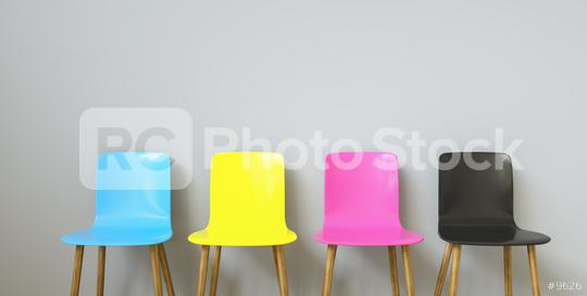 CMYK Colored Chairs , with copy space for individual text  : Stock Photo or Stock Video Download rcfotostock photos, images and assets rcfotostock | RC-Photo-Stock.: