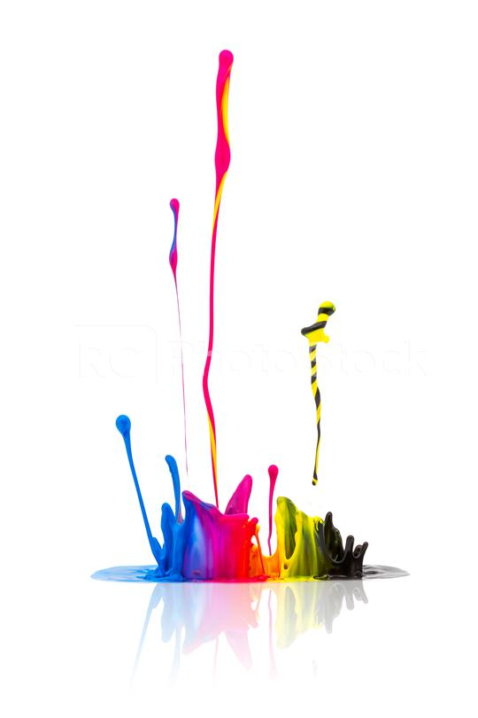 CMYK paint splashing isolated on white  : Stock Photo or Stock Video Download rcfotostock photos, images and assets rcfotostock | RC-Photo-Stock.: