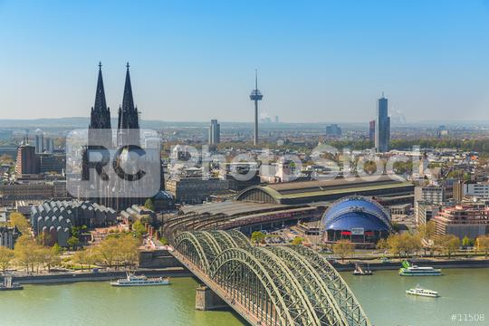 Cologne aerial view in germany at the Rhine River  : Stock Photo or Stock Video Download rcfotostock photos, images and assets rcfotostock   RC-Photo-Stock.:
