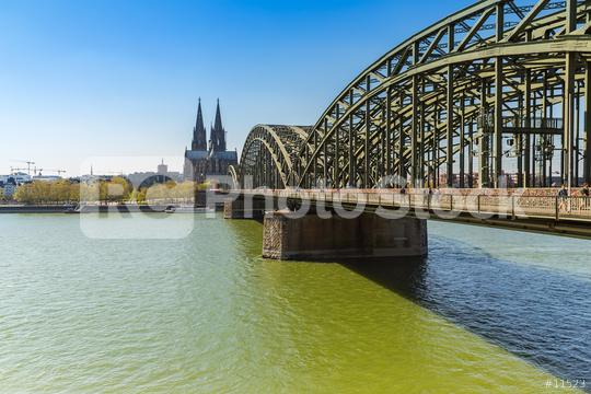 Cologne Cathedral and Hohenzollern bridge at spring  : Stock Photo or Stock Video Download rcfotostock photos, images and assets rcfotostock | RC-Photo-Stock.: