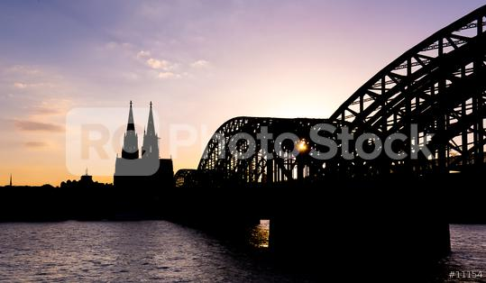 Cologne Cathedral and Hohenzollern Bridge silhouette  : Stock Photo or Stock Video Download rcfotostock photos, images and assets rcfotostock | RC-Photo-Stock.: