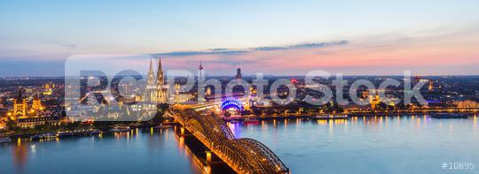 Cologne city skyline panorama at sunset  : Stock Photo or Stock Video Download rcfotostock photos, images and assets rcfotostock | RC-Photo-Stock.: