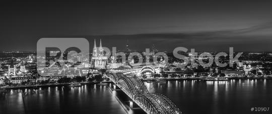 cologne city skyline panorama in black and white  : Stock Photo or Stock Video Download rcfotostock photos, images and assets rcfotostock | RC-Photo-Stock.: