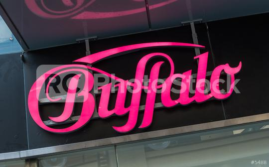 Cologne, GERMANY OCTOBER, 2017: Buffalo logo on a store. Buffalo is a brand of clothing and accessories, perhaps best known for its footwear, owned by the Buffalo Boots GmbH in Hochheim germany.  : Stock Photo or Stock Video Download rcfotostock photos, images and assets rcfotostock   RC-Photo-Stock.: