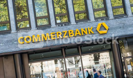 COLOGNE, GERMANY OCTOBER, 2017: Commerzbank branch. Commerzbank AG is one of the largest banks in Germany, it is active in commercial banking, retail banking and mortgaging.  : Stock Photo or Stock Video Download rcfotostock photos, images and assets rcfotostock | RC-Photo-Stock.: