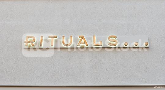 COLOGNE, GERMANY OCTOBER, 2017: Rituals logo on a shop wall. Rituals is a company for Cosmetics.  : Stock Photo or Stock Video Download rcfotostock photos, images and assets rcfotostock | RC-Photo-Stock.: