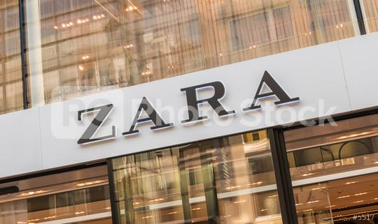 COLOGNE, GERMANY OCTOBER, 2017: Zara logo on a store. Zara is a Spanish clothing and accessories retailer based in Arteixo, Galicia, and founded in 1975 by Amancio Ortega and Rosalia Mera.   : Stock Photo or Stock Video Download rcfotostock photos, images and assets rcfotostock | RC-Photo-Stock.: