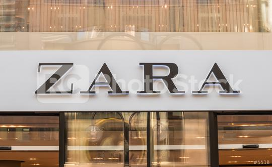 COLOGNE, GERMANY OCTOBER, 2017: Zara logo on a store. Zara is a Spanish clothing and accessories retailer based in Arteixo, Galicia, and founded in 1975 by Amancio Ortega and Rosalia Mera.   : Stock Photo or Stock Video Download rcfotostock photos, images and assets rcfotostock   RC-Photo-Stock.: