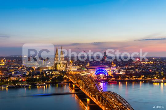 Cologne with Cologne Cathedral during twilight blue hour  : Stock Photo or Stock Video Download rcfotostock photos, images and assets rcfotostock | RC-Photo-Stock.: