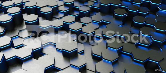 colorful bright neon uv blue lights abstract hexagons background pattern - 3D rendering - Illustration   : Stock Photo or Stock Video Download rcfotostock photos, images and assets rcfotostock   RC-Photo-Stock.: