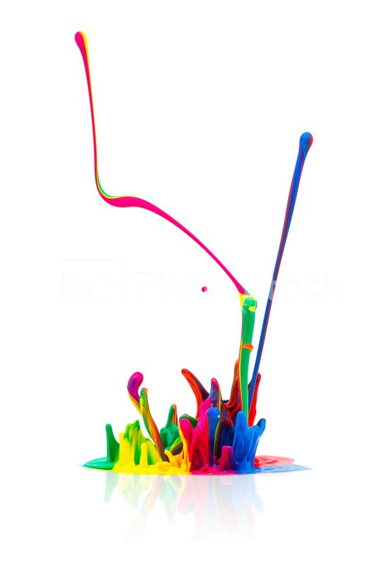 Colorful paint splash isolated on white  : Stock Photo or Stock Video Download rcfotostock photos, images and assets rcfotostock | RC-Photo-Stock.: