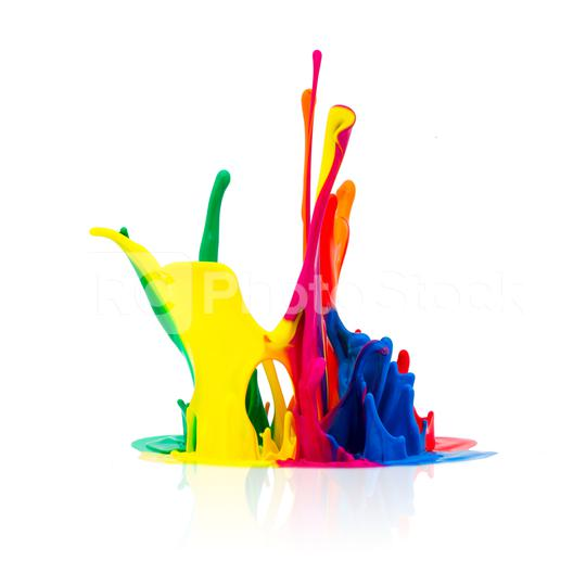 Colorful paint splashing isolated on white  : Stock Photo or Stock Video Download rcfotostock photos, images and assets rcfotostock | RC-Photo-Stock.: