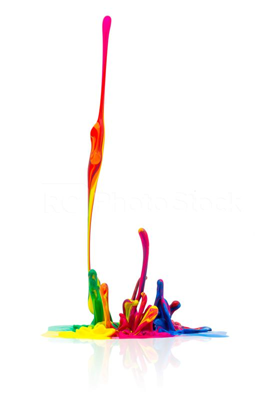 Colorful paint splashing on white  : Stock Photo or Stock Video Download rcfotostock photos, images and assets rcfotostock   RC-Photo-Stock.: