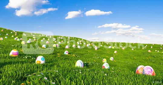 Colorful Painted Eggs in the grass of a meadow for easter  : Stock Photo or Stock Video Download rcfotostock photos, images and assets rcfotostock | RC-Photo-Stock.: