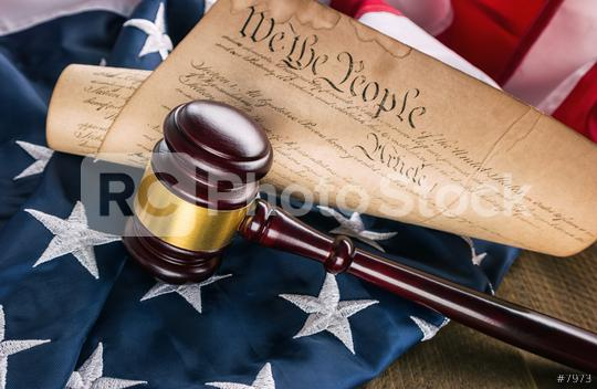 Constitution of america with judge gavel on a USA flag  : Stock Photo or Stock Video Download rcfotostock photos, images and assets rcfotostock   RC-Photo-Stock.: