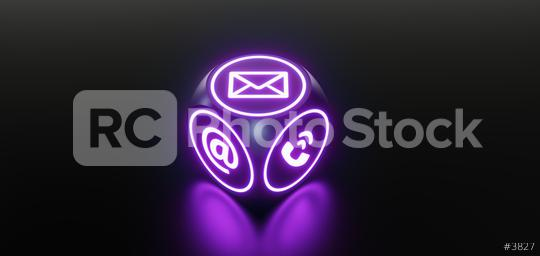 Contact Icons on a modern neon cube gaming  : Stock Photo or Stock Video Download rcfotostock photos, images and assets rcfotostock | RC-Photo-Stock.: