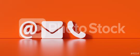 Contact Methods. Close-up Of A Phone, Email and Post Icons Leaning On red Wall  : Stock Photo or Stock Video Download rcfotostock photos, images and assets rcfotostock | RC-Photo-Stock.: